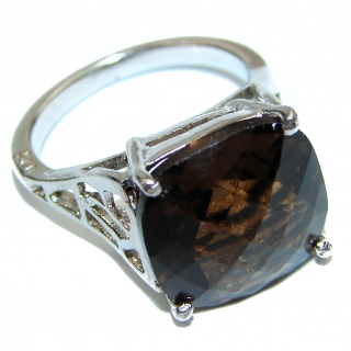Very Bold Champagne Smoky Topaz .925 Sterling Silver Ring size 8