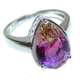 Genuine 25ct Ametrine .925 Sterling Silver handcrafted ring; s. 8 1/4