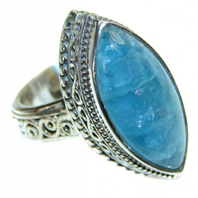 Aquamarine .925 Sterling Silver handcrafted ring size 6 1/4