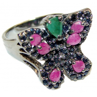 Sublime Butterfly Multigem .925 Sterling Silver handmade Ring s. 8 3/4
