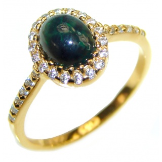 Vintage Design 0.9ctw Genuine Black Opal .925 Sterling Silver handmade Ring size 8