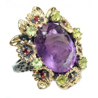 Chunky oval cut 22ctw Amethyst gold over .925 Sterling Silver handcrafted ring s. 7 1/2