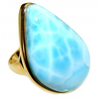 Aqua Natural Dominican Republic Larimar .925 Sterling Silver handcrafted Ring s. 8 1/4