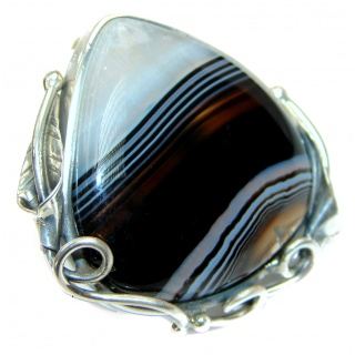 Massive 20.7 grams Botswana Agate .925 Sterling Silver Ring size 7 adjustable