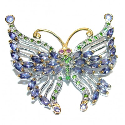 Large Beautiful Butterfly genuine Tanzanite .925 Sterling Silver handmade Brooch