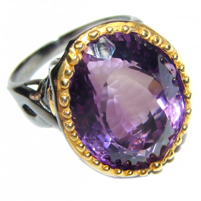 Authentic 55ctw Amethyst .925 Sterling Silver brilliantly handcrafted ring s. 8 1/2