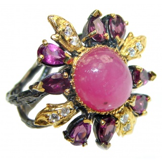 Genuine Star Ruby 2 tones .925 Sterling Silver handcrafted Statement Ring size 9
