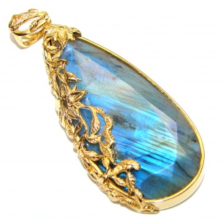 Blue Fire faceted Labradorite gold over .925 Sterling Silver handcrafted Pendant
