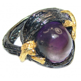 Authentic 35ctw Amethyst black rhodium over .925 Sterling Silver brilliantly handcrafted ring s. 8