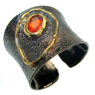 Authentic Ruby black rhodium over 2 tones .925 Sterling Silver Ring size 7 adjustable