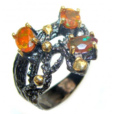Genuine Mexican Fire Opal 18K Gold over .925 Sterling Silver handmade Ring size 8