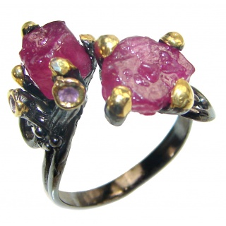 Authentic Rough Ruby black rhodium over 2 tones .925 Sterling Silver Ring size 9 1/4