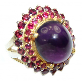 Gianna Authentic 41ctw Amethyst Garnet black rhodium over .925 Sterling Silver brilliantly handcrafted ring s. 8