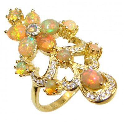 Golden Treasure Genuine Mexican Fire Opal 18K Gold over .925 Sterling Silver handmade Ring size 8