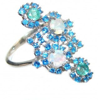 Genuine Swiss Blue Topaz .925 Sterling Silver handcrafted Statement Ring size 7