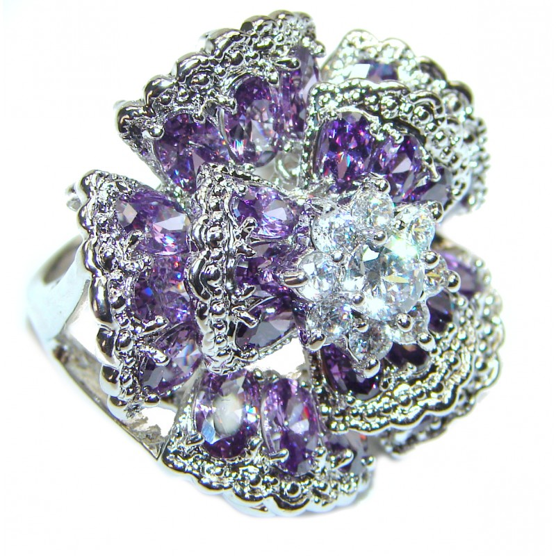 Large Authentic 55ctw Amethyst .925 Sterling Silver brilliantly handcrafted ring s. 8