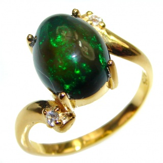 Vintage Design 2.4ctw Genuine Black Opal 14K Gold over .925 Sterling Silver handmade Ring size 6