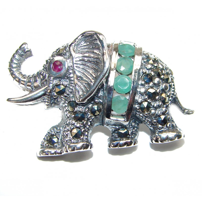 Elephant authentic Emerald .925 Sterling Silver handmade Pendant Brooch