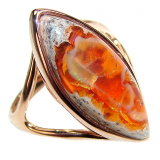 ELECTRIFIED TIDEPOOL Mexican Opal 18K Gold over .925 Sterling Silver handcrafted Ring size 9