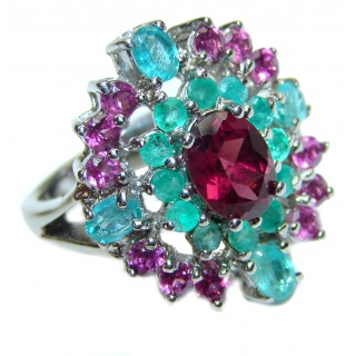 Stunning Authentic 1.2 ctw Ruby .925 Sterling Silver brilliantly handcrafted ring s. 7