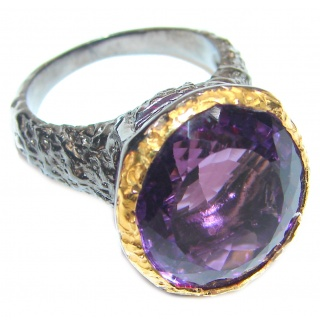 Authentic 55ctw Amethyst .925 Sterling Silver brilliantly handcrafted ring s. 7 1/2
