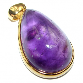 Lilac Blessings spectacular 55.5ct Amethyst 18K Gold over .925 Sterling Silver handcrafted pendant
