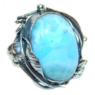 Large Vintage Design Natural Larimar .925 Sterling Silver handcrafted Ring s. 9 adjustable