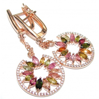 Authentic Tourmaline rose gold over .925 Sterling Silver handmade earrings