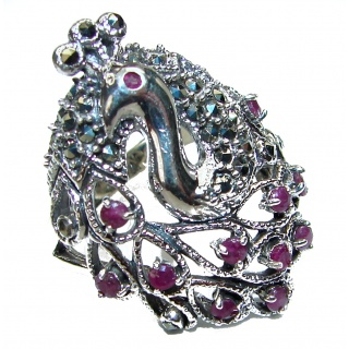Peacock Red Rose Authentic Ruby Marcasite .925 Sterling Silver Ring size 8