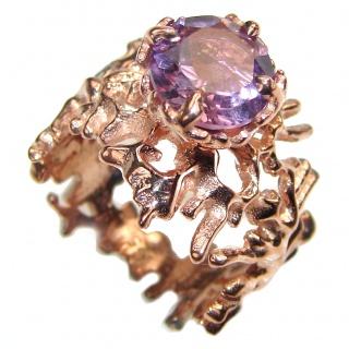 Purple Reef Amethyst Rose Gold over .925 Sterling Silver Ring size 6 3/4