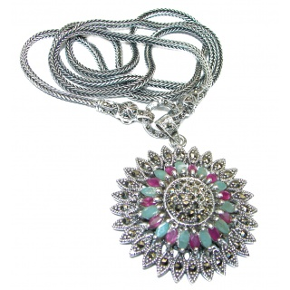 Fortune And Happiness Ruby Emerald Marcasite .925 Sterling Silver necklace