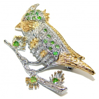 Bird authentic Emerald .925 Sterling Silver handmade Pendant Brooch