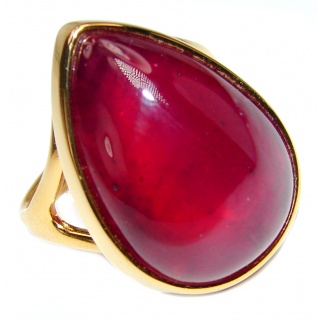 Genuine 55ct Ruby 18K yellow Gold over .925 Sterling Silver handmade Cocktail Ring s. 8 3/4