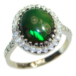 Vintage Design 5.5ctw Genuine Black Opal .925 Sterling Silver handmade Ring size 7 1/4