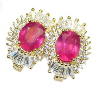 Stunning Authentic Ruby rose gold .925 Sterling Silver handmade earrings