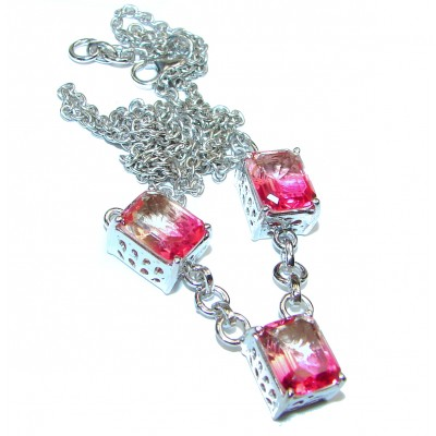 Pear cut Pink Tourmaline .925 Sterling Silver handcrafted necklace