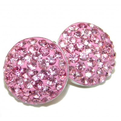 Pink CRYSTAL .925 Sterling Silver entirely handmade earrings