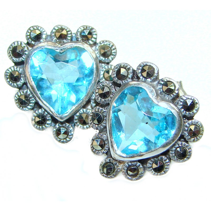 Melissa Swiss Blue Topaz .925 Sterling Silver handcrafted earrings