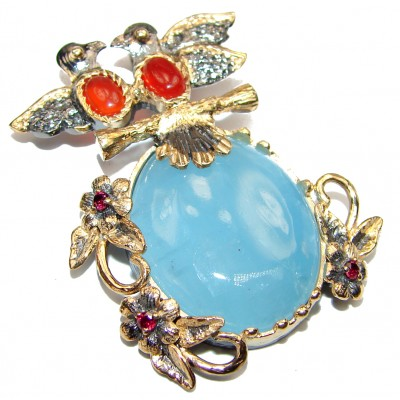 Love Birds genuine Aquamarine 18K gold over .925 Sterling Silver handcrafted Pendant
