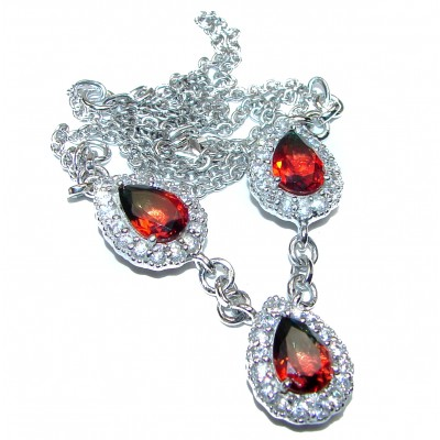 Pear cut Red Tourmaline .925 Sterling Silver handcrafted necklace