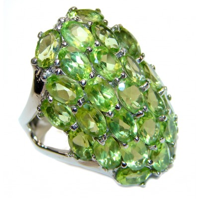 Spectacular genuine Peridot .925 Sterling Silver handcrafted LARGE Ring size 8 1/2