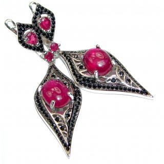 Stunning Authentic Ruby Spinel .925 Sterling Silver handmade earrings
