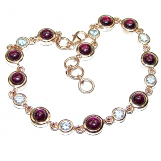 Spectacular Genuine Garnet 14K Gold over .925 Sterling Silver handcrafted Bracelet