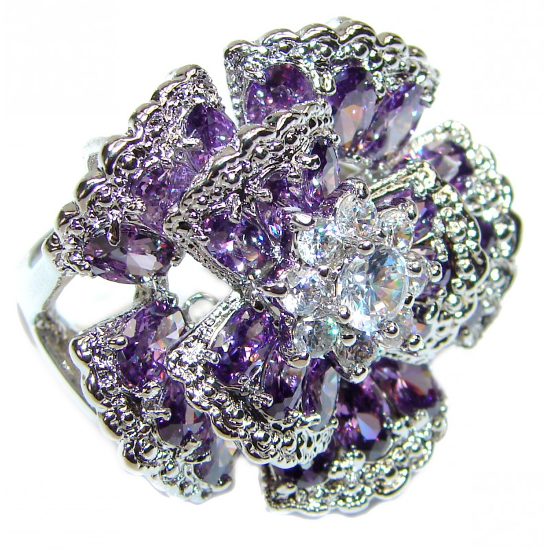 Large Authentic 55ctw Amethyst .925 Sterling Silver brilliantly handcrafted ring s. 9