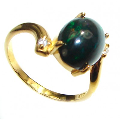 Vintage Design 3.2ctw Genuine Black Opal 14K Gold over .925 Sterling Silver handmade Ring size 7 3/4