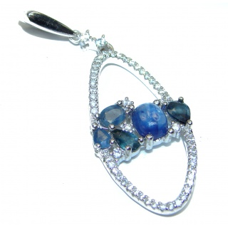 Genuine 3.1ctw Sapphire .925 Sterling Silver handcrafted Pendant