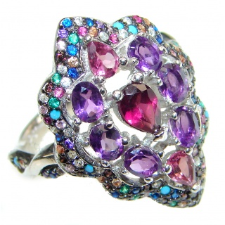 Posh Genuine Multigem .925 Sterling Silver handcrafted Statement Ring size 8