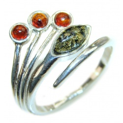 Genuine Baltic Amber .925 Sterling Silver handmade Ring size 9