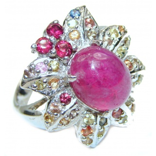 Luxurious Genuine Ruby .925 Sterling Silver handcrafted Statement Ring size 8
