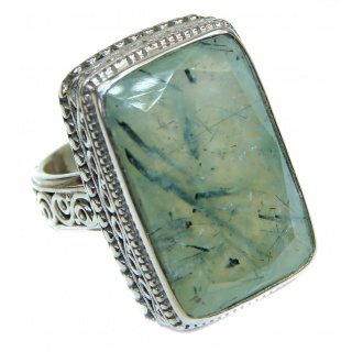 JUICY Natural Prehnite .925 Sterling Silver handmade ring s. 8